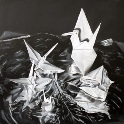 Origami Birds Oil Painting