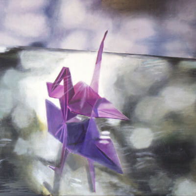 Original oil Painting Contemporary Art Origami