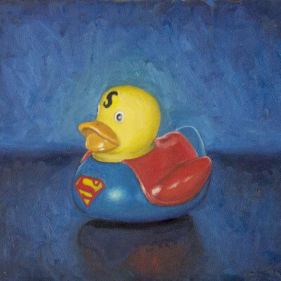 super-man-rubber-duck-oil-painting