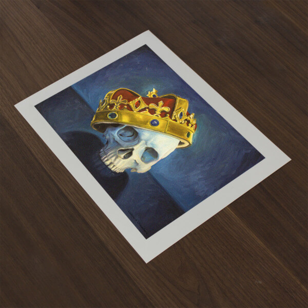 """The Man Who Would be King"" Crowned Skull Fine Art Print"