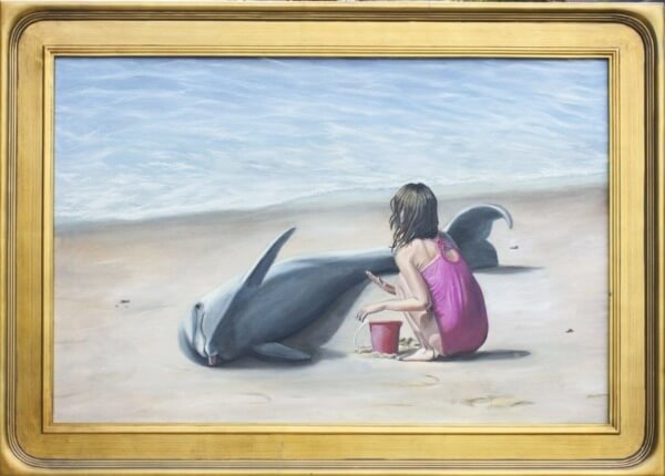 dead_Dolphin_on_a_Beach_Original_Oil_Painting_Contemporary_Art_Sale_Cedric_Chambers_framed