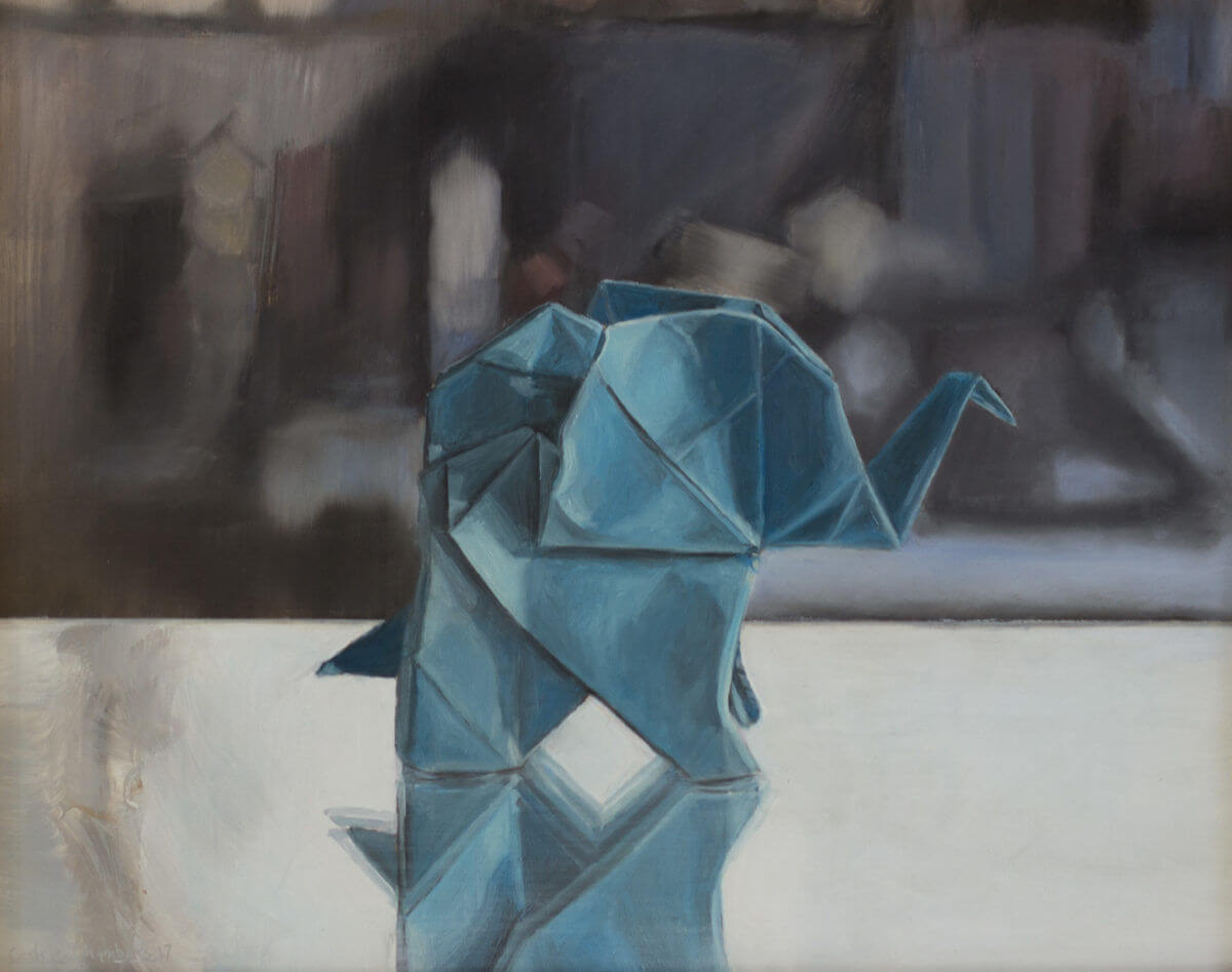 Origami elephant oil painting