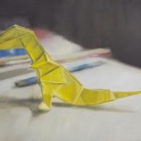 """Origami T-Rex"" (Oil, 12×16)"