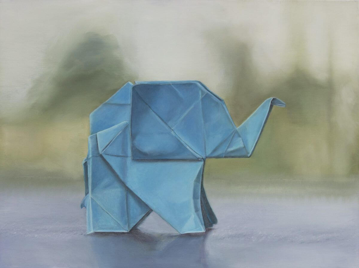 """""""Origami Elephant"""" Oil 18x24"""