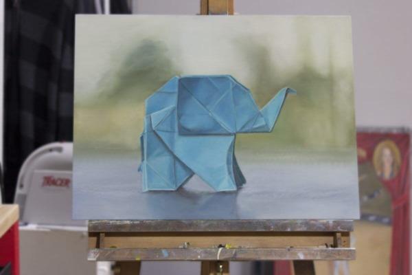 """Origami Elephant"" (Oil, 18×24)"