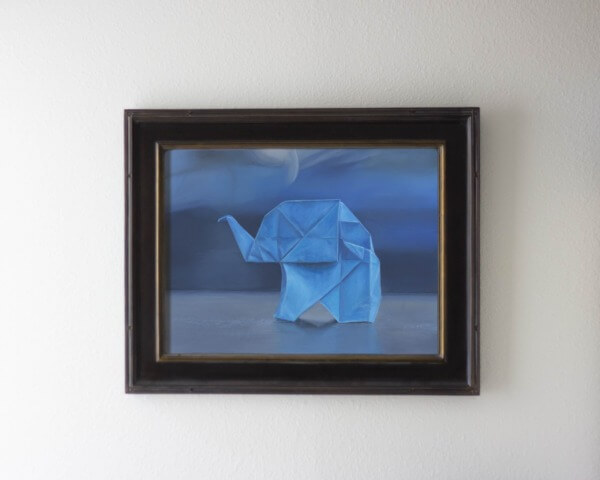 Blue Framed Origami Elephant