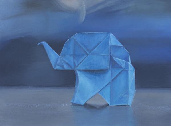 Blue Origami Elephant